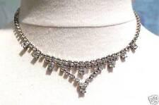Collier ancien bijou vintage couleur argent cristal diamant swarovski 4959
