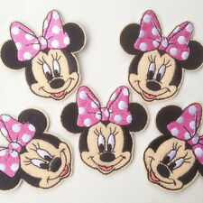 5pcs Minnie Mouse Pink Bow Iron On Machine Embroidered Patch Applique Crafts BIN