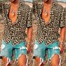 INCERUN Men's Hawaii Leopard Printed Shirts Short Sleeve Casual Blouse Top Tee