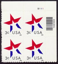 USA 3c Stars from Booklet with Plate number MNH @E1651