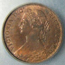 1873 Victoria Farthing Graded MS-64 Red & Brown by ICG - Lovely Coin!