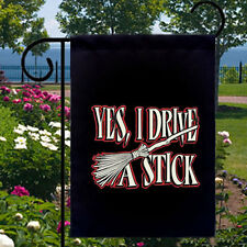I Drive A Stick New Small Garden Yard Banner Decor Events Witch Pagan Wiccan
