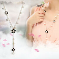 Exquisite Women's Crystal Pearl Flower Long Necklace Chain Sweater Pendant