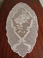 Vintage lace crochet centerpiece Large hand crochet doily Filet lace 28 x 14inch