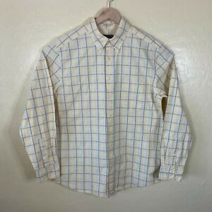 Eddie Bauer Button Up Shirt Mens Large Tall Yellow Blue Check Long Sleeve