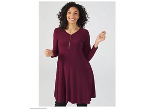 Nina Leonard Matt Jersey V Neck Long Sleeve Trapeze Dress Wine Size Large BNWT