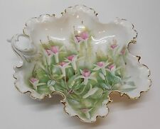 Scalloped Ruffled Bowl White and Pink Flowers Antique RC Monbijou Bavaria