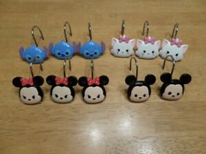 11 Disney Shower Curtain Hooks - Minnie Mickey Stitch Hello Kitty NEW