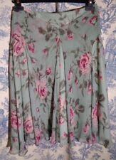 Banana Republic skirt sz 2 petite silk chiffon green pink flowers