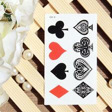 Corazón Rojo Negro Club nocturno Diamantes Spades Body ART BELLEZA Poker tatuaje temporal Reino Unido