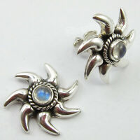 Solid Sterling Silver Blue Rainbow Moonstone Stud Post Earrings Bijoux