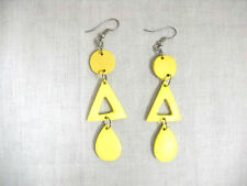 NEW EXOTIC PALE YELLOW COCONUT SHELL 3 PART LONG ROUND TRIANGLE DROPLET EARRINGS