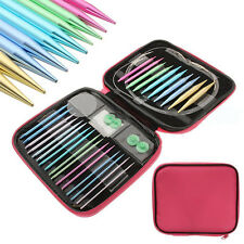 13 Sizes Interchangeable Aluminium Circular Crochet Knitting Needle Set Kit Case
