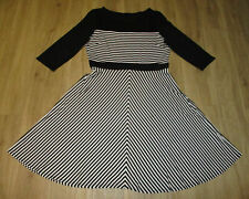 M&Co Black/White Stripe 3/4 Sleeve Fit & Flare Dress 16