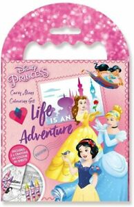 Disney Princess Carry Along Colouring Set  64 Colour In Sheets + 5 crayons