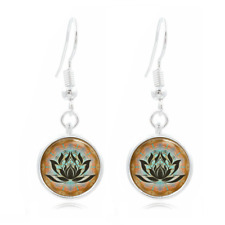 Lotus art . Yoga . Zen Photo Art Glass Cabochon 16mm Charm Earring Earring Hooks