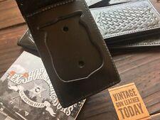 Tex Shoemaker Black Basketweave Portland Style Police Badge Shield Id Wallet