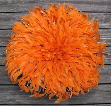 Vintage African feather Juju hat Bamileke People Cameroon orange headdress 28in