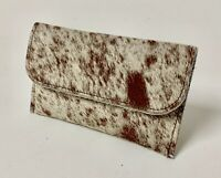 Raviani Flat Wallet / Coin Bag In Salt & Pepper Hair On Cowhide Leather (USA)