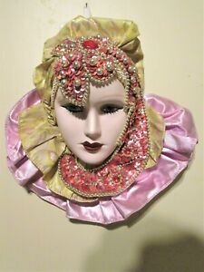Vintage Mardi Gras Porcelain Ceramic Painted Wall Hanging Face Mask Woman 8 x 10