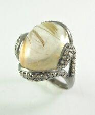 10 k black Rhodium gold Ring with diamonds and Rhutilated Quartz D=0.50ct Size=7