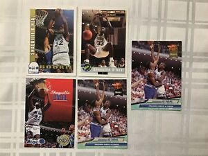 LOT OF 5 1992-93 SHAQUILLE O'NEAL ROOKIE BASKETBALL CARDS SKYBOX ULTRA
