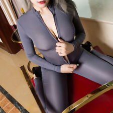 Women Wet Look Jumpsuit Bodycon Bodysuit Zipper Playsuit ClubwearLingericb