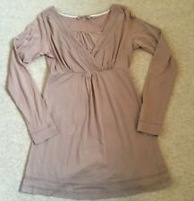 Fat Face size 10 Ladies Long Sleeved Taupe Cotton Top