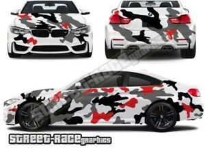 FULL Car camouflage 010 snow urban camo graphics stickers fits med/lge cars