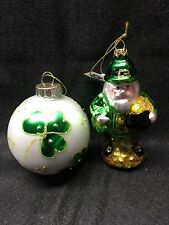 Leprechaun & Four Leaf Clover Glass Ornaments By Living Quarters NWT