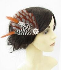 Burnt Orange Grey White Pheasant Feather Fascinator Hair Clip Races Wedding 6162