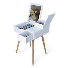 Dressing Table Vanity Desk Makeup Storage with Mirror and 2 Drawers,White