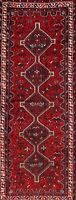 BLACK FRIDAY DEAL Antique Geometric Tribal Abadeh Runner Rug Hand-Knotted 4x10