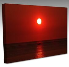 "16x12"" Red Sea Water Sunset Boat Large Framed Canvas Wall Art Picture Print"