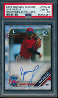 PSA 10 LUIS GARCIA AUTO 2019 Bowman Chrome Prospects REFRACTOR #/499 RC GEM MINT
