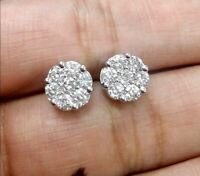 DEAL! 1.05 CT Solitaire Cluster Genuine Diamond  Halo Stud Earrings 10K Gold 8mm