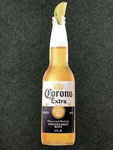 """NEW 22"""" Embossed Corona Extra Bottle W/ Lime Tin Tacker Beer Sign Cerveza Mexico"""