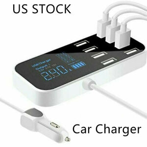 8 Ports Car USB Fast Charger Multi USB Phone Charger Station With LCD Display US