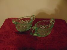 "Vintage Light Green Glass Sugar and Creamer Set 2 1/4"" tall"