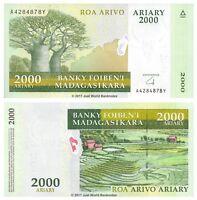 Madagascar 2000 Ariary 2009 P-90b  Banknotes  UNC
