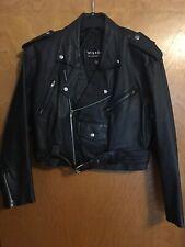 Wilsons Leather Black Short Cropped Motorcycle Biker Jacket Womens L