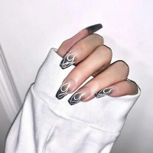 Detachable Long Oval Fake Nails with Designs French Artificial Press On Nails