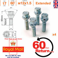 M12x1.5 40mm extended thread taper seat alloy wheel spacer bolts - Renault x 4