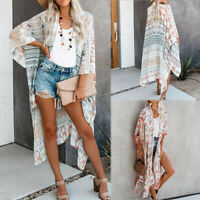 US Summer Ladies Boho Bikini Cover Up Kimono Cardigan Blouse Long Sunscreen