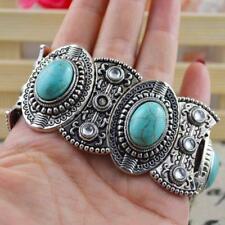 Bracelet argent tibétain bracelet largeur pierre naturel turquoise ovale alliage