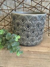 Gisela Graham glossy charcoal grey ceramic fan design plant pot cover