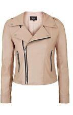 Topshop Goldie Biker Coat Jacket Faux Leather Nude Pink Zips Womens Size XS £79