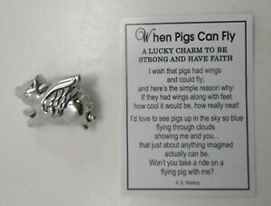 zzH When Pigs can fly Pocket token Charm pig figurine have faith angel be strong
