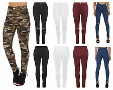 New Womens Ladies Ripped Skinny High Waist Jeans Plain Camouflage Print