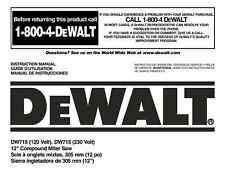 "Dewalt 12"" Miter Saw Instruction Manual Model #DW715"